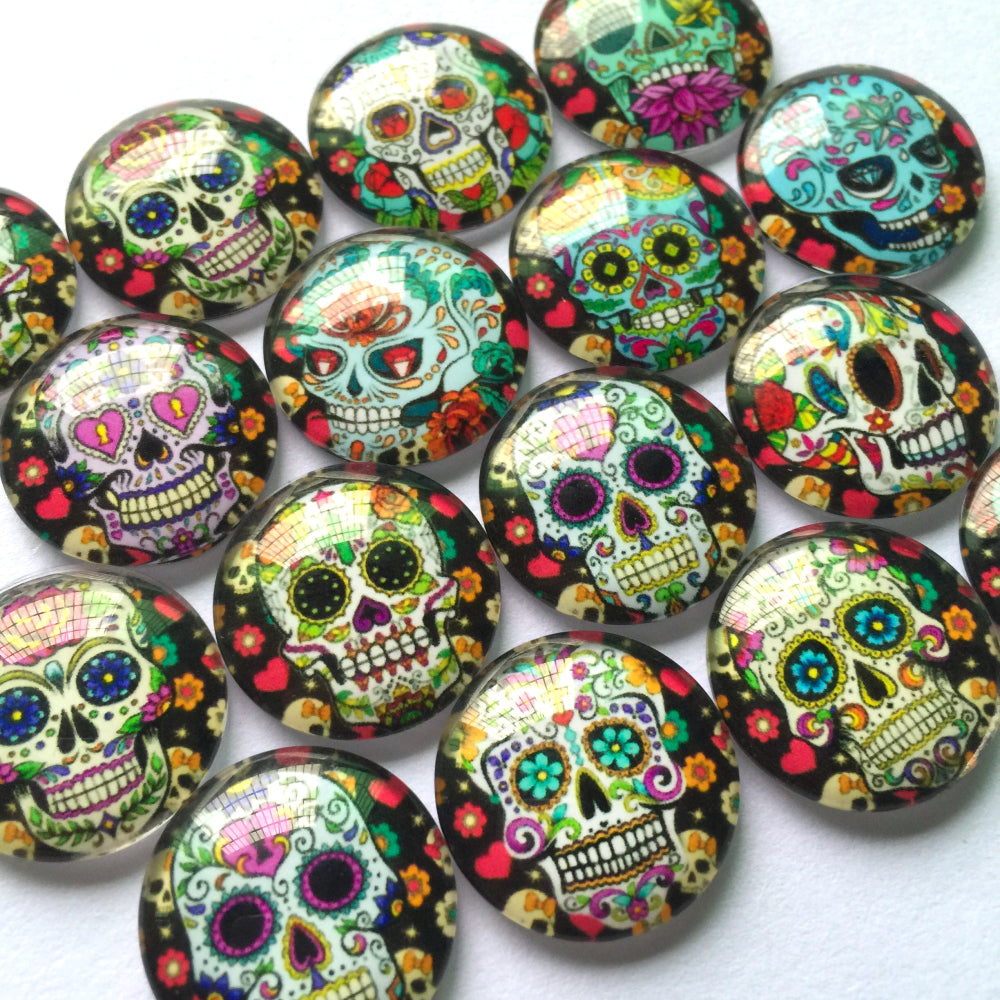 10mm 12mm 18mm 20mm 25mm 30mm 35mm 40mm Skull Round Photo Glass Cabochon Mixed Pattern Fit Cameo Base Setting