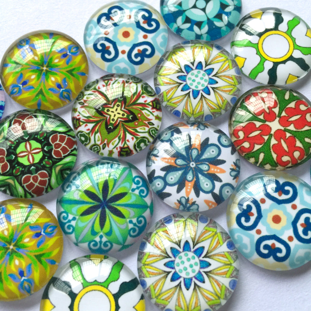 10mm 12mm 18mm 18mm 20mm 25mm 30mm 40mm Round Photo Glass Cabochon Mixed Pattern Fit Cameo Base Setting