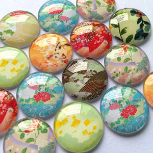 10mm 12mm 18mm 20mm 25mm 30mm 40mm Round Photo Glass Cabochon Mixed Pattern Fit Cameo Base Setting