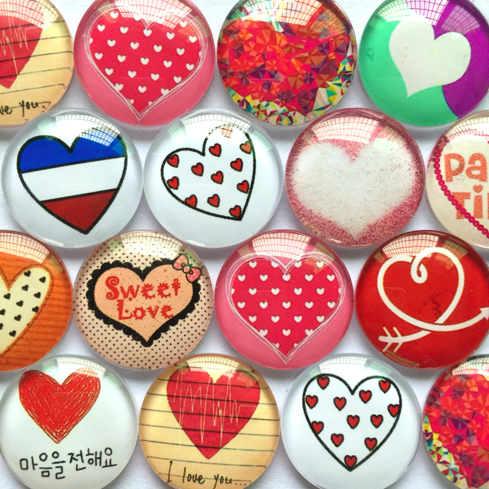 10mm 12mm 18mm 20mm 25mm 30mm 35mm 40mm Love Heart Mixed Pattern Round Photo Glass Cabochon Fit Cameo Base Setting