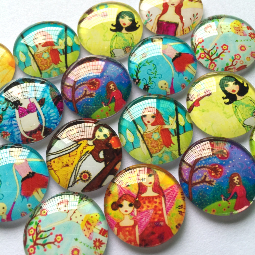 10mm 12mm 18mm 20mm 25mm Round Glass Cabochon Mixed Girls Classical Painting Style Fit Cameo Base Setting