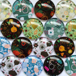 10mm 12mm 18mm 20mm 25mm 30mm 40mm Branch Tree Flower Round Photo Glass Cabochon Mixed Pattern Fit Cameo Base Setting