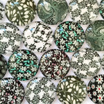 10mm 12mm 14mm 16mm 18mm 20mm 25mm 30mm 35mm 40mm Mixed Vector Art Pattern Round Glass Cabochon Fit Cameo Base Setting