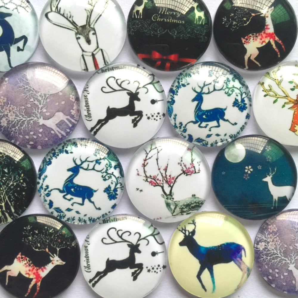 10mm 12mm 18mm 20mm 25mm Deer Icon Round Glass Cabochon Mixed Pattern Fit Cameo Base Setting