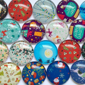 10mm 12mm 18mm 20mm 25mm 30mm 40mm Presents Round Glass Cabochon Mixed Pattern Fit Cameo Base Setting
