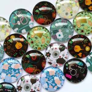 10mm 12mm 18mm 20mm 25mm 30mm Round Photo Glass Cabochon Mixed Pattern Fit Cameo Base Setting