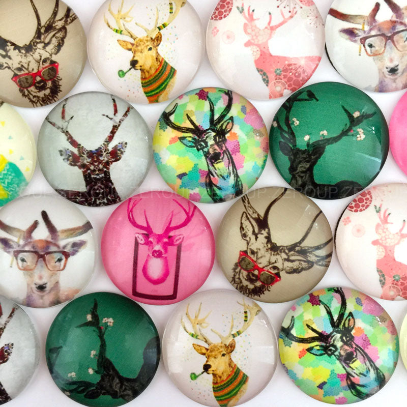 10mm 12mm 18mm 20mm 25mm 30mm 40mm Deer Round Photo Glass Cabochon Mixed Pattern Fit Cameo Base Setting