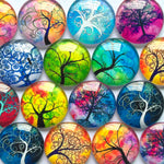 10mm 12mm 14mm 18mm 20mm 25mm 30mm Tree Branch Round Photo Glass Cabochon Mixed Pattern Fit Cameo Base Setting