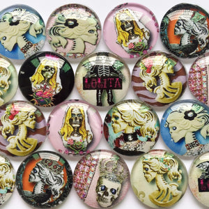 10mm 12mm 18mm 20mm 25mm 30mm 40mm Round Glass Cabochon Pop-Art Skull Pattern Fit Cameo Base Setting