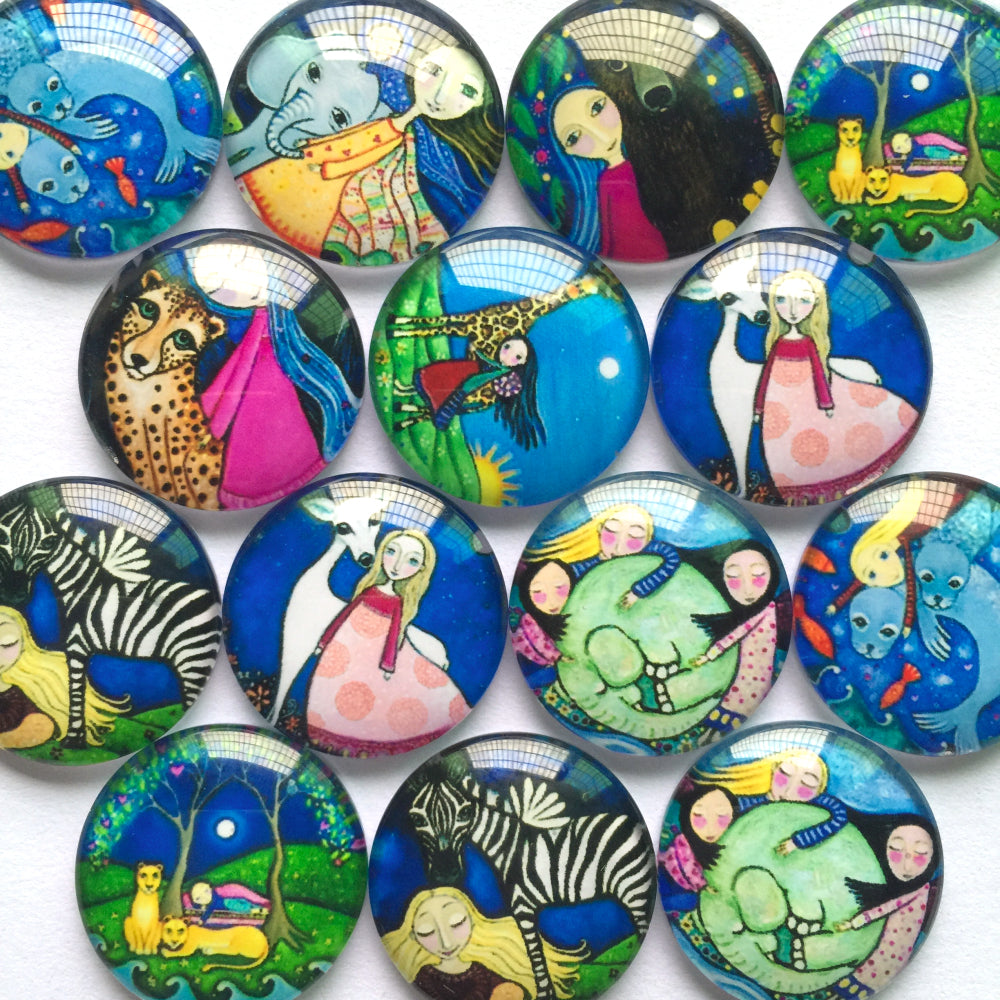 10mm 12mm 18mm 20mm 25mm 30mm 35mm 40mm Animal Girl Round Glass Cabochon Mixed Pattern Fit Cameo Base Setting