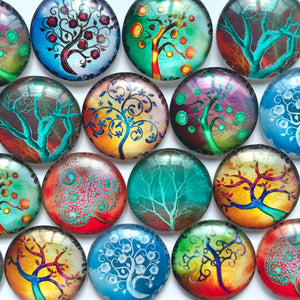 10mm 12mm 18mm 20mm 25mm 30mm Gradient Tree Branch Round Photo Glass Cabochon Mixed Pattern Fit Cameo Base Setting