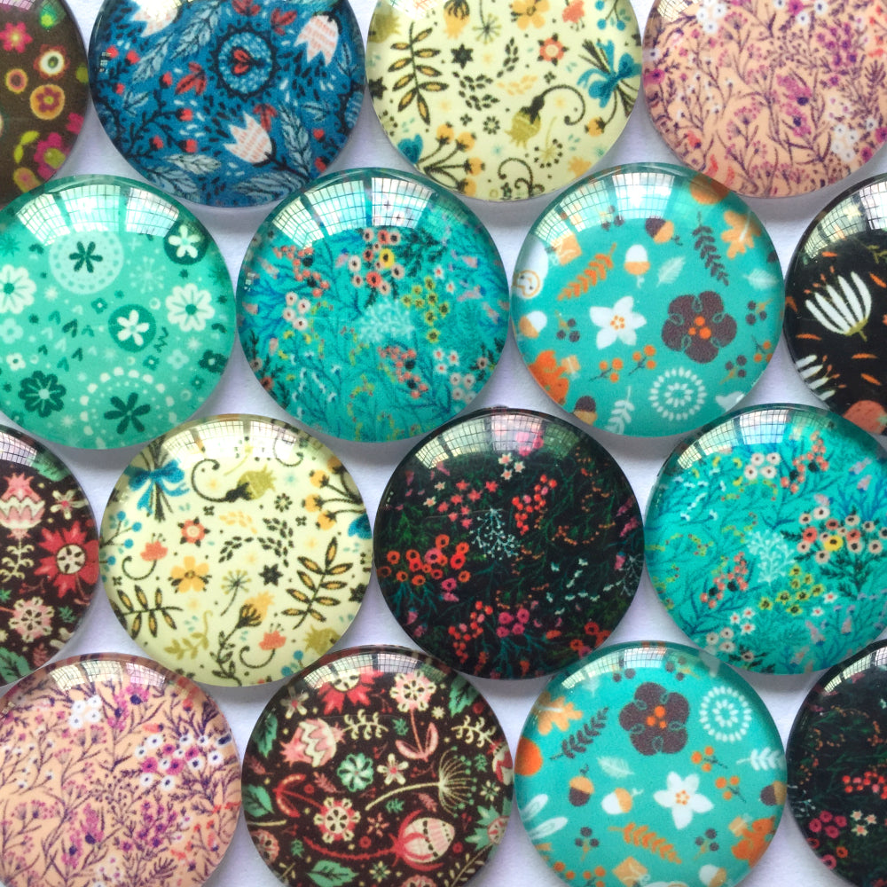 12mm 20mm Floral Round Shape Mixed Patterns Pictures Glass Dome Cabochon Fit Cameo Settings Embellishments