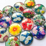 Flower Mixed Pattern Round Glass Cabochon Fit Cameo Base