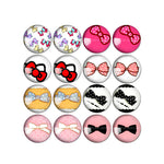 10mm 12mm 14mm 16mm 18mm 20mm 25mm Round Glass Cabochon Bow-Knot Pictures Mixed Style Fit Base Earring Setting