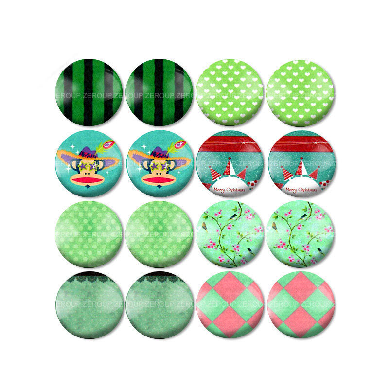 10mm 12mm 14mm 16mm 18mm 20mm 25mm Round Glass Cabochon Brief Branch Pictures Mixed Pattern Fit Base Earring Setting