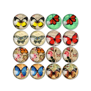 10mm 12mm 14mm 16mm 18mm 20mm 25mm Butterfly Round Glass Cabochon Mixed Pattern Fit Base Earring Setting