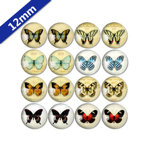 10mm 12mm 14mm 16mm 18mm 20mm 25mm Butterfly Mixed Pattern Round Glass Cabochon Fit Base Earring Setting