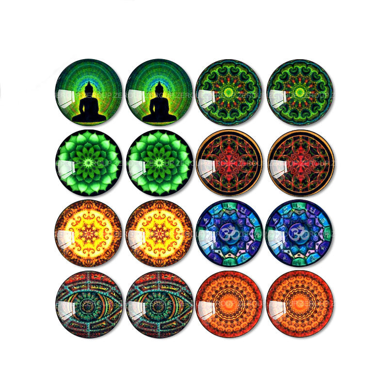 10mm 12mm 14mm 16mm 18mm 20mm 25mm Round Glass Cabochon Color-Rich Pictures Mixed Pattern Fit Base Earring Setting