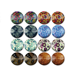 10mm 12mm 14mm 16mm 18mm 20mm 25mm Decorative Mixed Pattern Round Glass Cabochon Fit Base Earring Setting