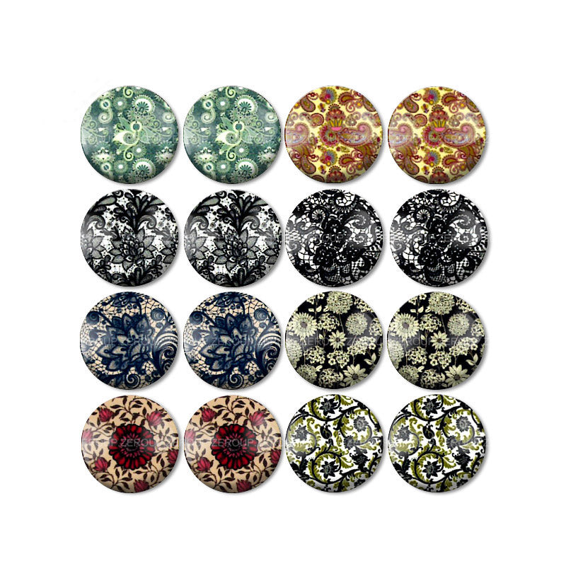 10mm 12mm 14mm 16mm 18mm 20mm 25mm Round Glass Cabochon Decorative Pictures Mixed Pattern Fit Base Earring Setting