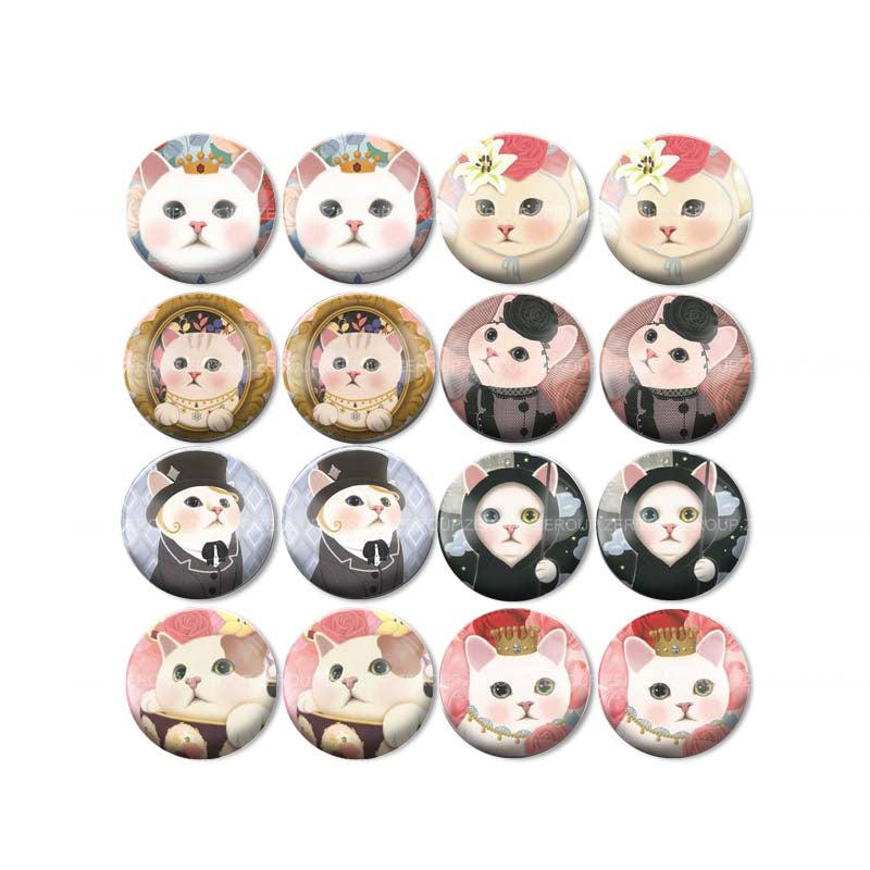 10mm 12mm 14mm 16mm 18mm 20mm 25mm Cat Mixed Pattern Round Glass Cabochon Fashion Fit Base Earring Setting
