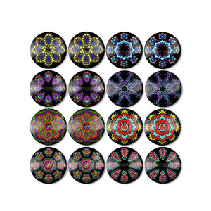 10mm 12mm 14mm 16mm 18mm 20mm 25mm Round Glass Cabochon Kaleidoscope Pictures Mixed Pattern Fit Base Earring Setting