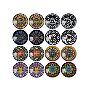 10mm 12mm 14mm 16mm 18mm 20mm 25mm Kaleidoscope Mixed Pattern Round Glass Cabochon Fit Base Earring Setting for Jewelry