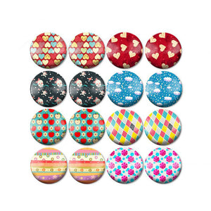 10mm 12mm 14mm 16mm 18mm 20mm 25mm Love Balm Round Glass Cabochon Mixed Pattern Fit Base Earring Setting