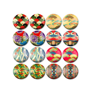 10mm 12mm 14mm 16mm 18mm 20mm 25mm Colorful Round Glass Cabochon Mixed Pattern Fit Base Earring Setting