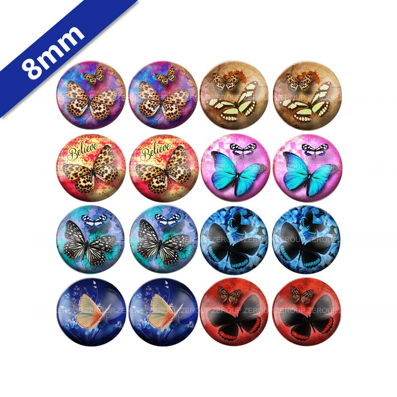 10mm 12mm 14mm 16mm 18mm 20mm 25mm Round Glass Cabochon New Butterfly Mixed Pattern Fit Base Earring Setting for Jewelry Flatback BCH-031