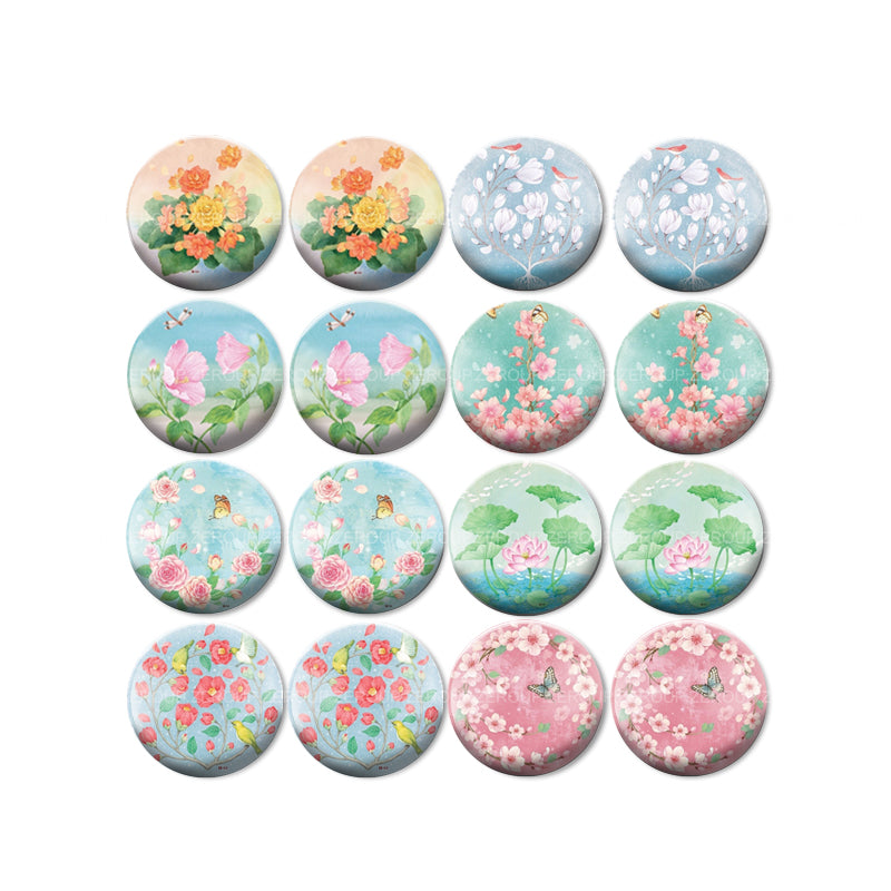 10mm 12mm 14mm 16mm 18mm 20mm 25mm New Flower Mixed Pattern Round Glass Cabochon Fit Base Earring Setting