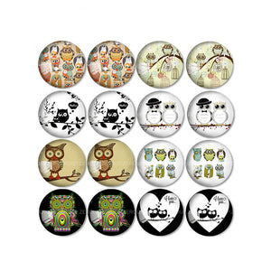 10mm 12mm 14mm 16mm 18mm 20mm 25mm Owl Mixed Pattern Round Glass Cabochon Fit Base Earring Setting