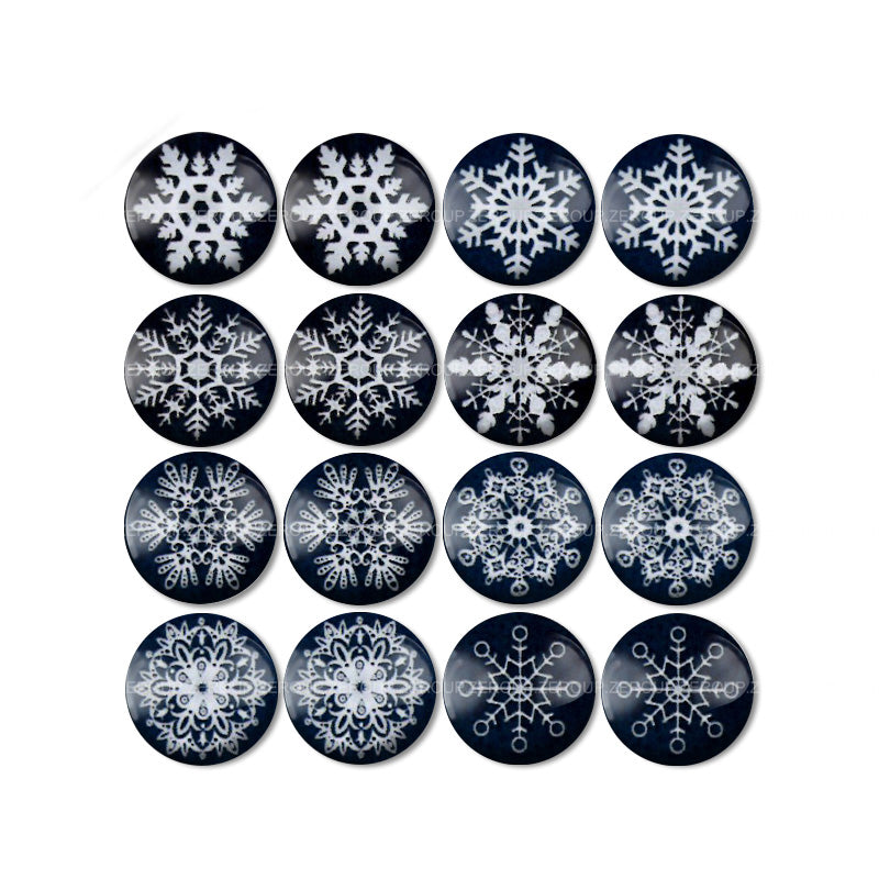 10mm 12mm 14mm 16mm 18mm 20mm 25mm Black White Snowflake Round Glass Cabochon Mixed Pattern Fit Base Earring Setting