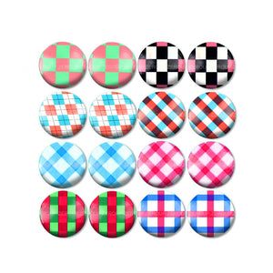 10mm 12mm 14mm 16mm 18mm 20mm 25mm Stripe Branch Mixed Pattern Round Glass Cabochon Fit Base Earring Setting