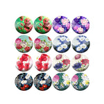 10mm 12mm 14mm 16mm 18mm 20mm 25mm Variety Flowers Round Glass Cabochon Mixed Pattern Fit Base Earring Setting
