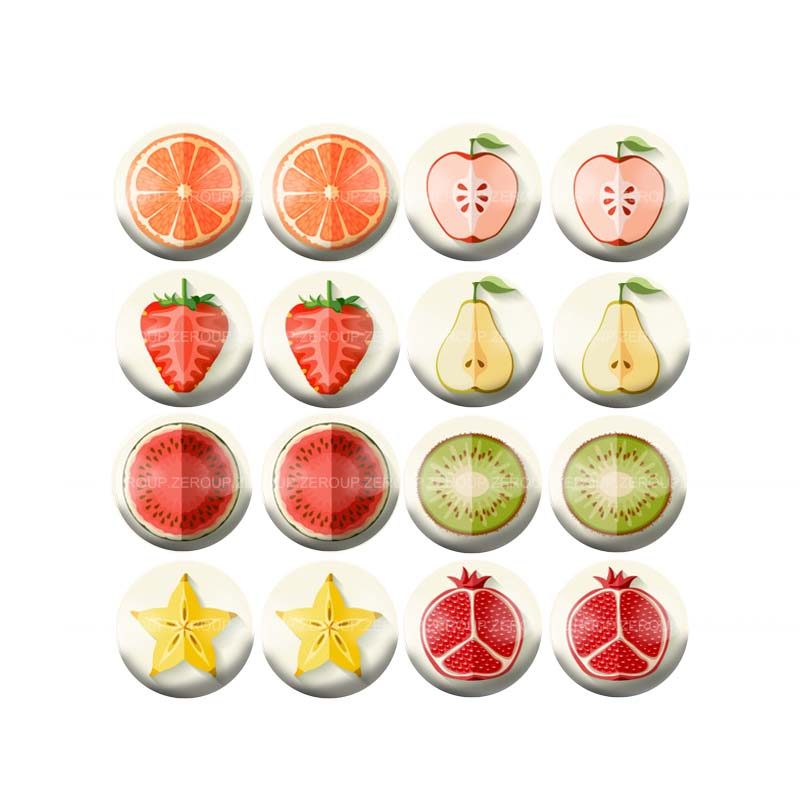 10mm 12mm 14mm 16mm 18mm 20mm 25mm Cabochon Various New Fruits Round Glass Mixed Pattern Fit Base Earring Setting