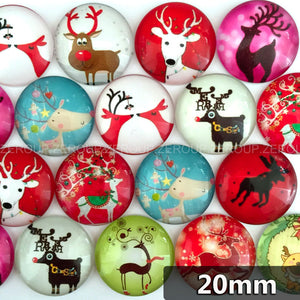 20mm Deer Round Glass Cabochon Mixed Pattern Fit Cameo Base Setting