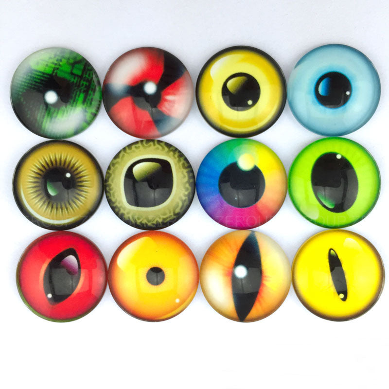 18mm 20mm 25mm Eye Light Colors Glass Cabochons Round Mixed Pattern fit Cabochons Base Setting Supplies