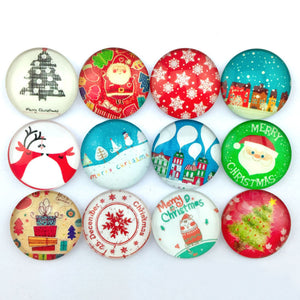 18mm 20mm 25mm Christmas Glass Cabochons Round Mixed Pattern Fit Cabochons Base Setting Supplies
