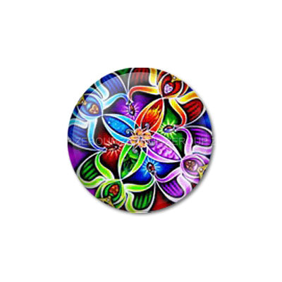 12mm 20mm 25mm 30mm Colorful Symmetrical Design Round Glass Cabochon Dome Jewelry Setting