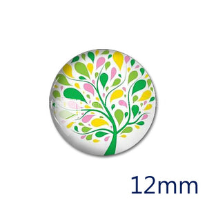 12mm 20mm 25mm 30mm Colorful Tree DIY Handmade Round Glass Cabochon Body Jewelry Finding Fit Cameo Blank Settings