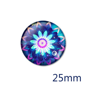 12mm 20mm 25mm 30mm Round Glass Cabochon Blue Symmetry Pattern Jewelry Finding Fit Cameo Blank Settings