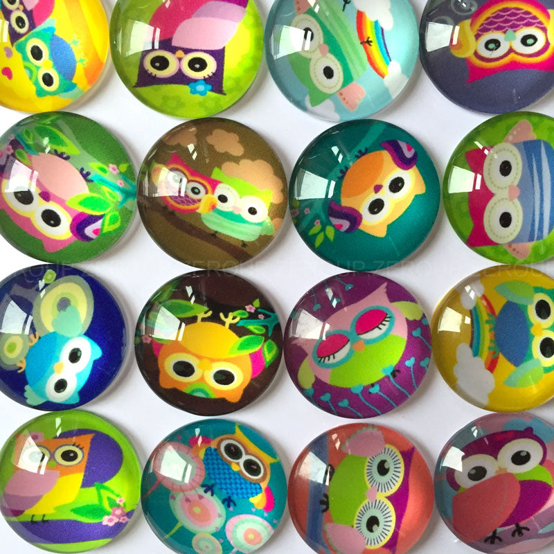 18mm 20mm 25mm Cartoon Owl Pattern Round Glass Cabochon Dome Flat Back Embellishments DIY Jewery
