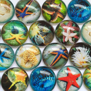 30mm 35mm Handmade Photo Glass Cabochons Mixed Pattern Domed Round Jewelry Accessories Supplies