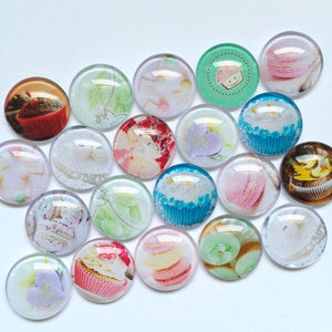 30mm 35mm Round Glass Cabochons Mixed Style Cupcake Pictures Pattern Fit Jewelry Accessories Supplies