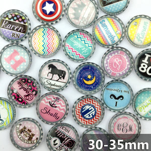 30mm 35mm Round Glass Cabochon Mixed Pattern Fit Cameo Base Setting