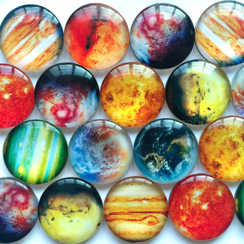 30mm 35mm Round Glass Planet Style Mixed Design Cabochon Fit Cameo Base Setting