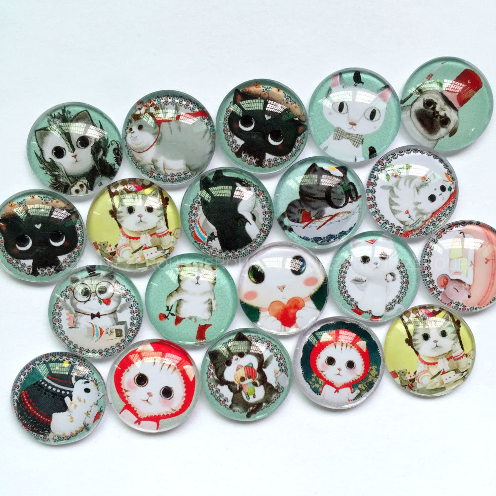 40mm Cute Pets Animals Handmade Photo Glass Cabochons Mixed Pattern Domed Round Jewelry Accessories Supplies