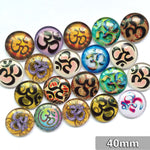 40mm Round Glass Cabochons Mixed Calligraphy Pattern Domed Jewelry Accessories Supplies