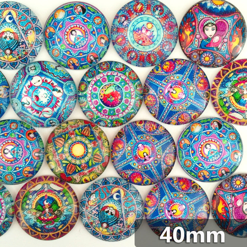 40mm Colorful Art Round Glass Cabochon Mixed Pattern Fit Cameo Base Setting